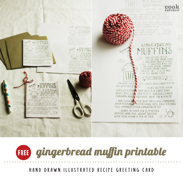 Free Printable Gingerbread Muffins Recipe Greeting Card