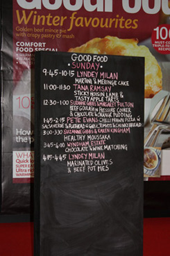 The Good Food Cooking demonstrations.