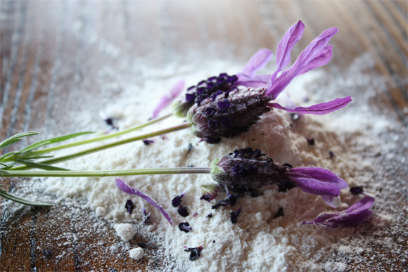 Infusing the flour with lavender prior to baking the biscuits.