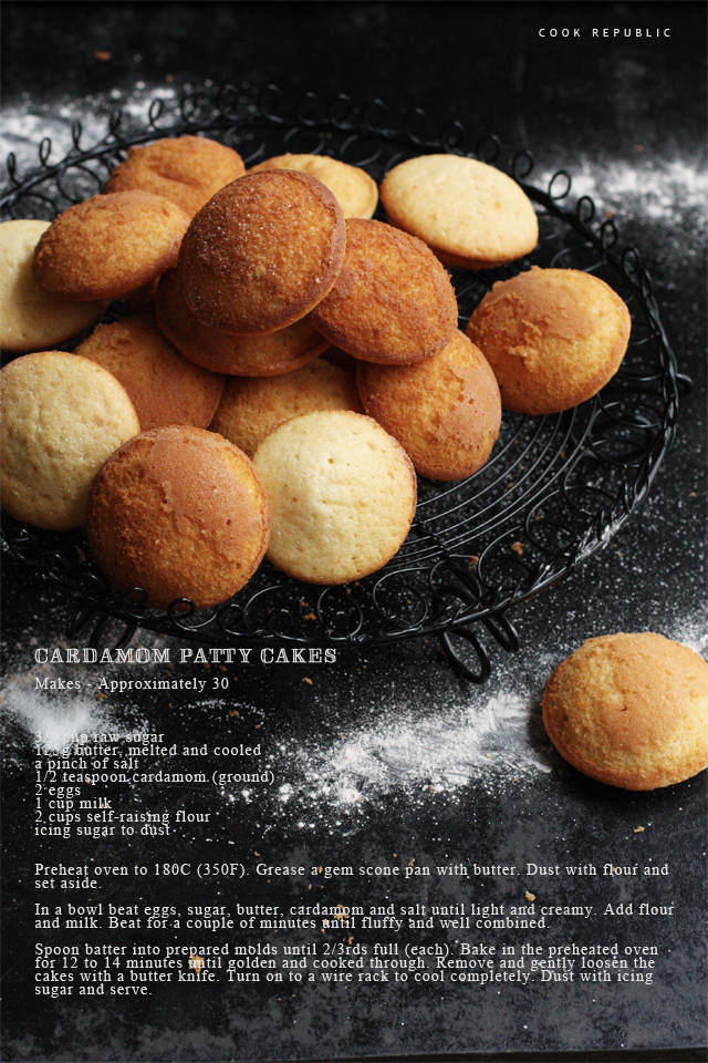 Cardamom Patty Cakes Recipe Card - Cook Republic