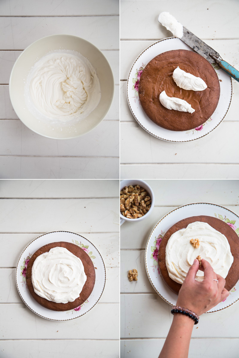Amaranth Coffee And Walnut Cake With Whipped Maple Cream - Cook Republic