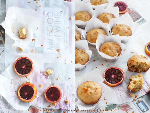 Blood Orange Muffins with Polenta And White Chocolate