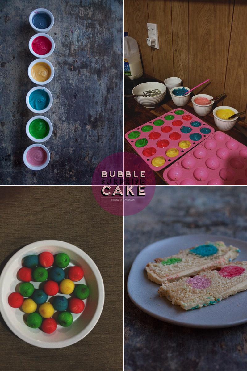 Making coloured cake balls for Bubble Surprise Cake