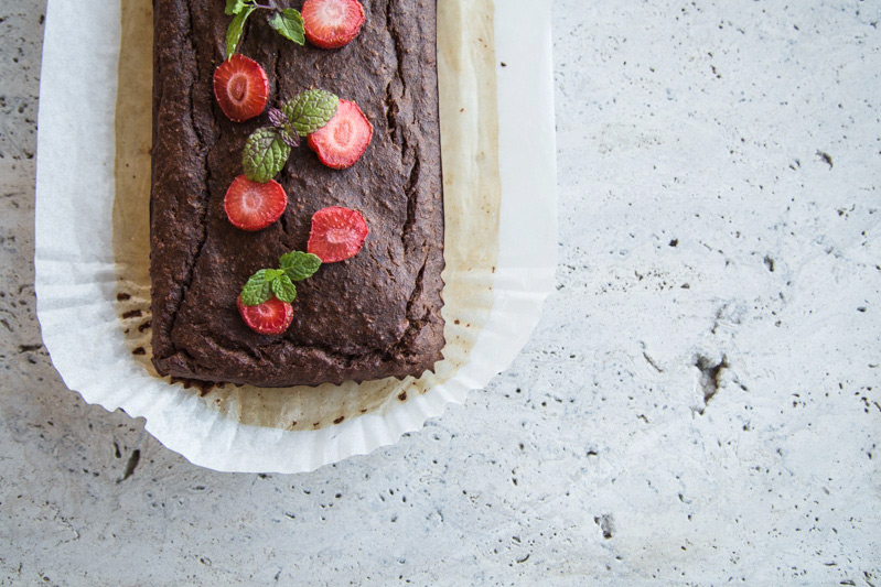 Cacao Banana Bread With Strawberries - Cook Republic