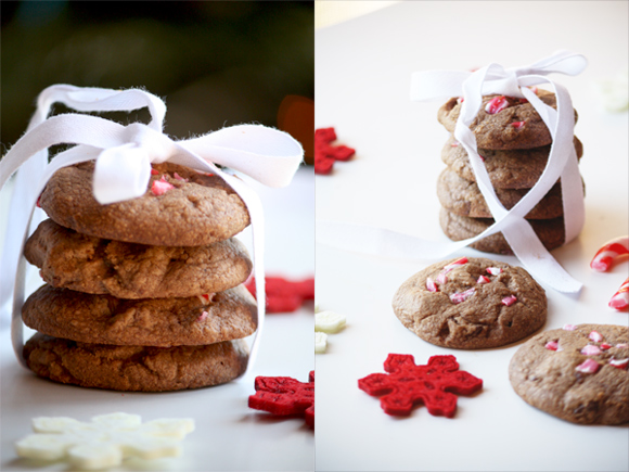 Candy Cane And Dark Chocolate Cookies