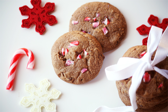 Candy Cane And Ooey Gooey Chewy Dark Chocolate Cookie