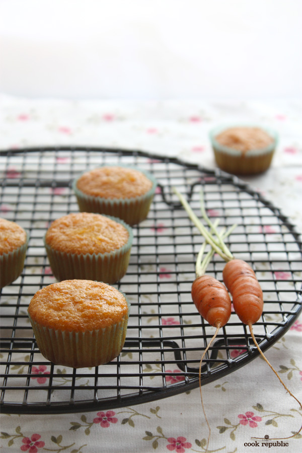 Mini Carrot Muffins on a Wire Rack