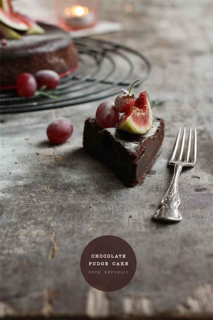 Chocolate Fudge Cake With Figs, Grapes & Strawberries - Cook Republic