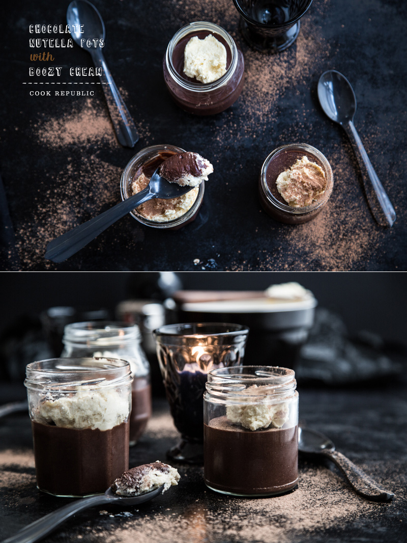 Chocolate Nutella Pots With Boozy Cream