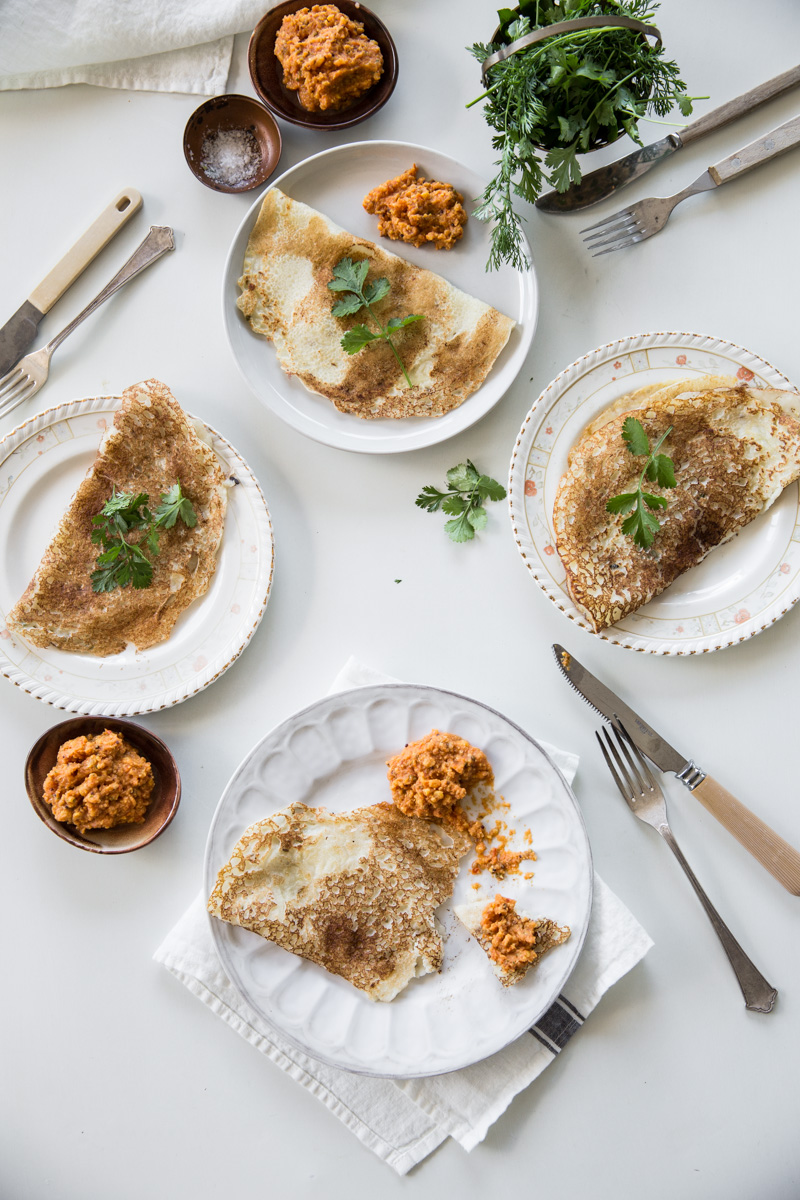 Coconut Dosa With Spicy Chickpea Chutney - Cook Republic