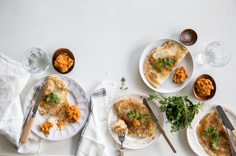 Coconut Dosas With Spicy Chickpea Chutney - Cook Republic