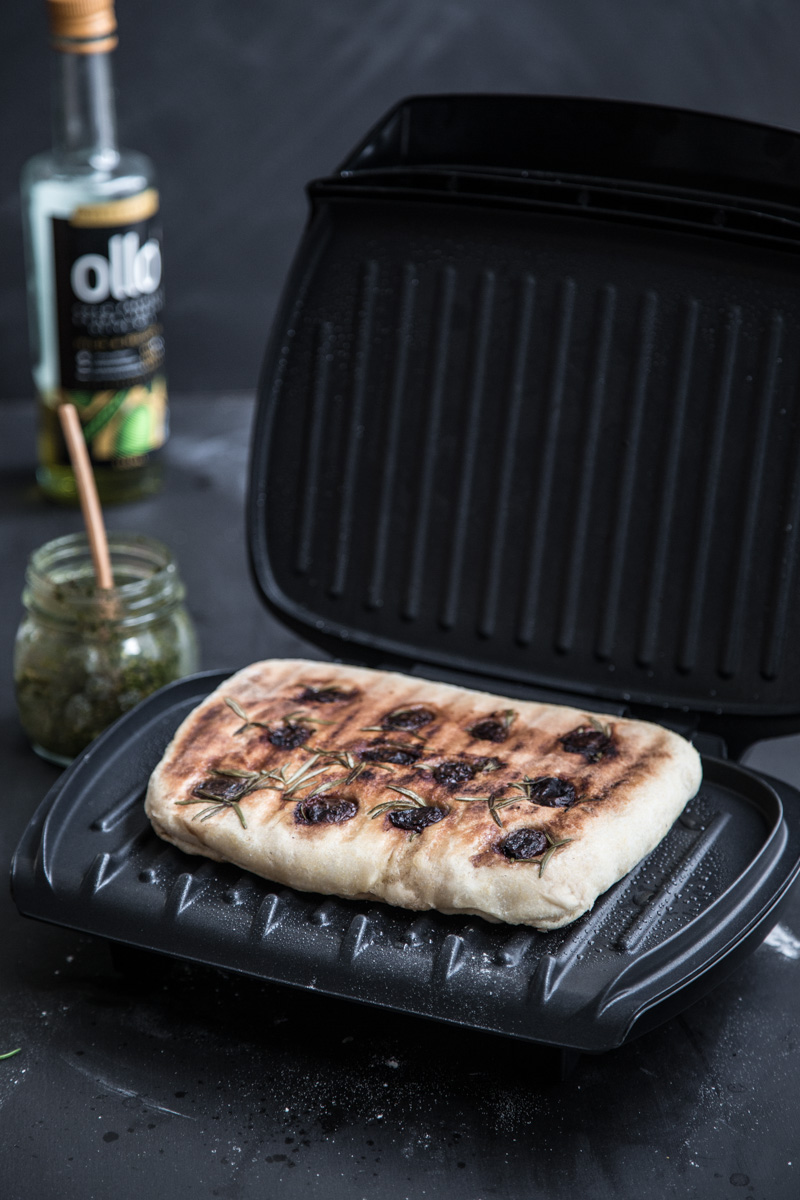 Herb Pesto Flatbread In A Grill