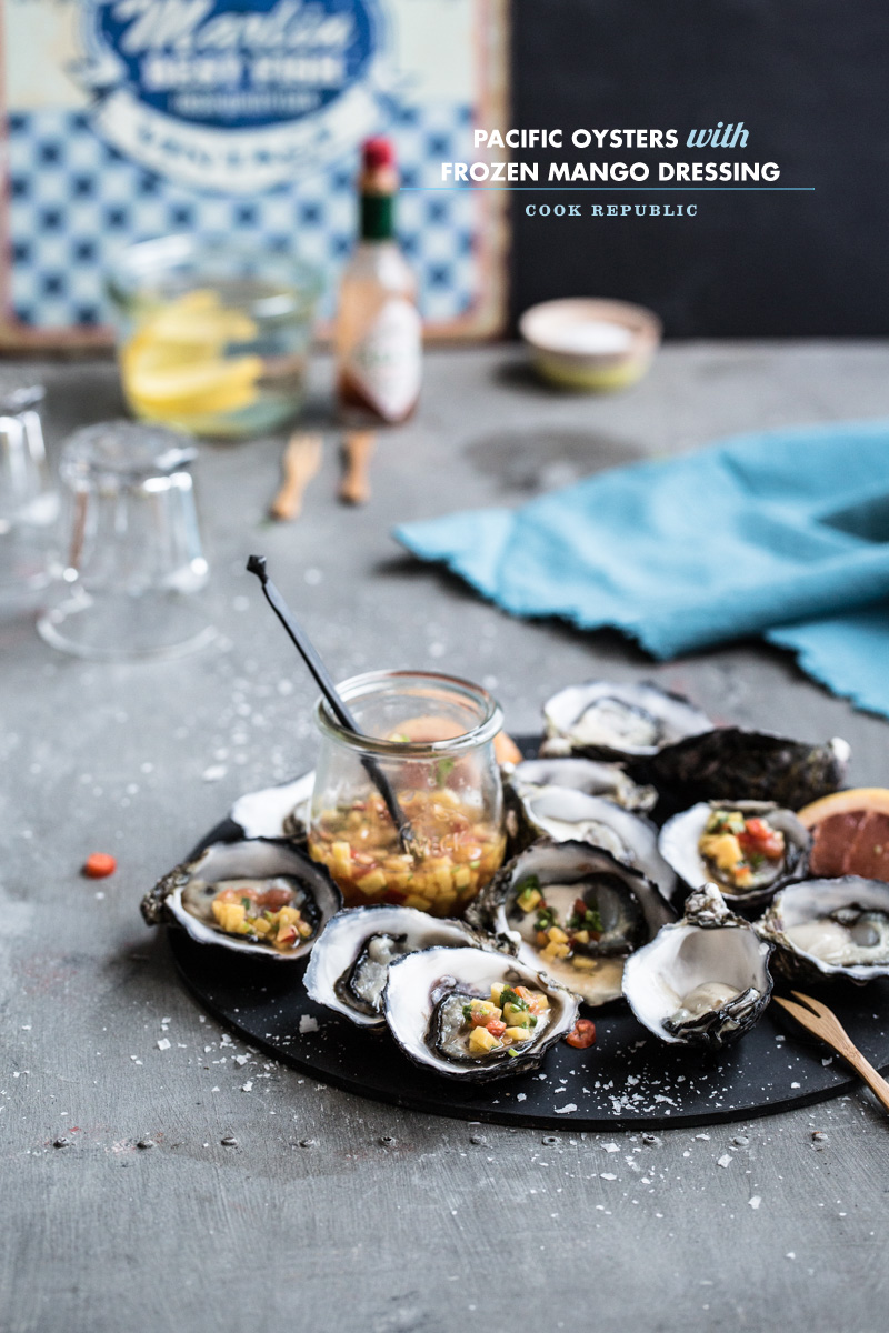 Pacific Oysters With Frozen Mango Dressing - Cook Republic