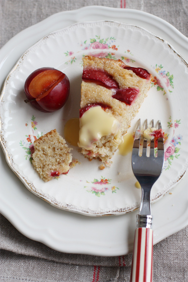 Juicy plum and cake slice.
