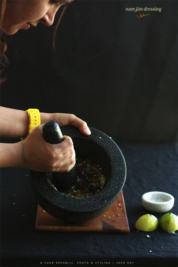 Releasing the flavours using the mortar and pestle