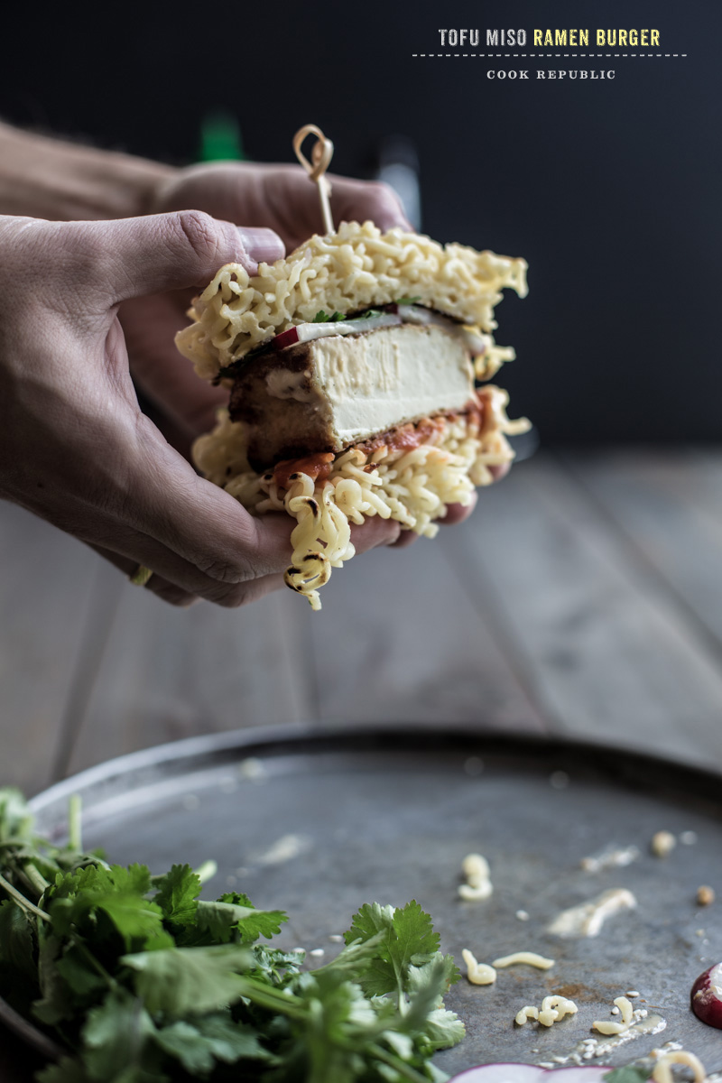 Miso Glazed Tofu Ramen Burger - Sneh Roy, Photo