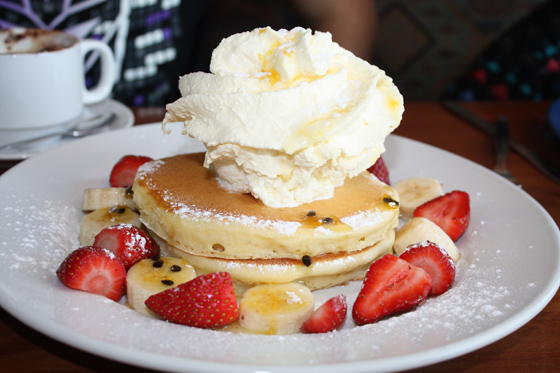 Passionfruit And Strawberry Pancake Stack