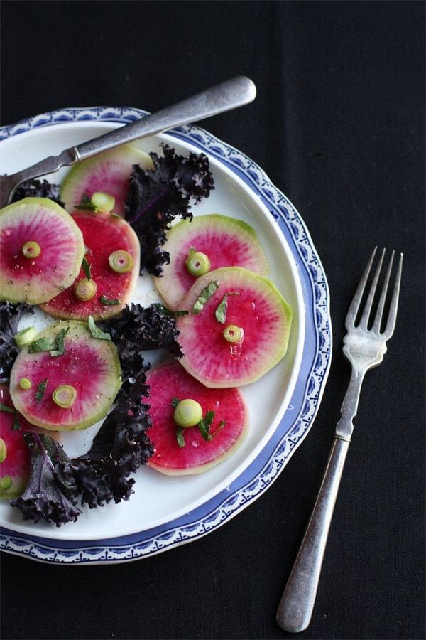 Rainbow Radish And Purple Kale Salad Cook Republic