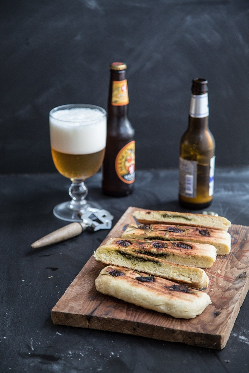 Herb Pesto Stuffed Grilled Flatbread