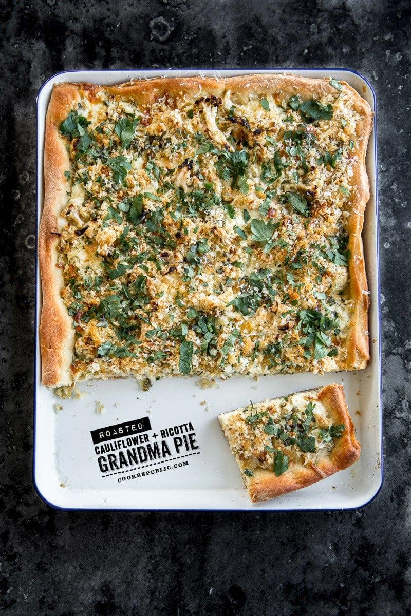 Roasted Cauliflower And Ricotta Grandma Pie - Cook Republic