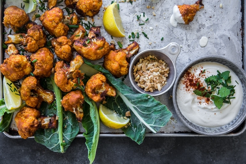 Crispy Cauliflower Buffalo Wings With Sour Cashew Cream Sauce - Cook Republic #vegan #airfryer #glutenfree #healthy