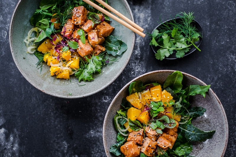 Coffee Citrus Salmon Poke Bowl - Cook Republic #poke #healthyrecipe #seafood
