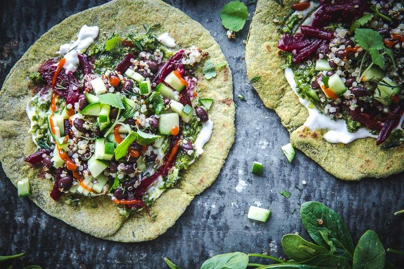 Green Garlic Spinach Flatbreads - Cook Republic #vegan #healthyrecipe #sodastream