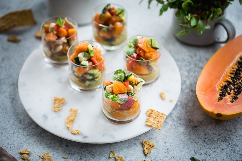 Papaya Barramundi Ceviche Cups - Cook Republic #glutenfree #seafood #papaya #foodphotography