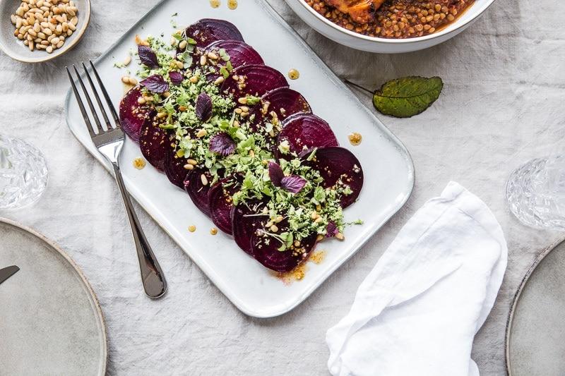 Vegan Beetroot Carpaccio With Zesty Broccoli Crumb - Cook Republic #vegan #easyrecipe #heathyrecipe #glutenfree #beetroot