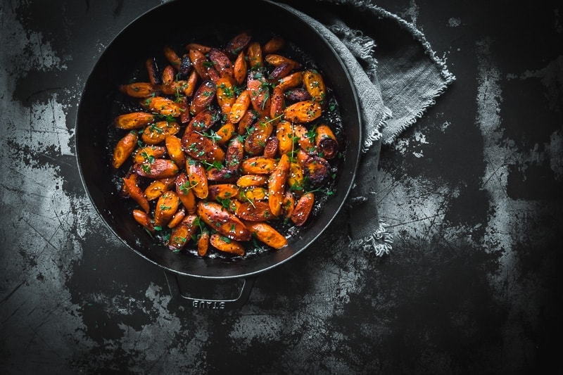 Sticky Vegan Miso Roasted Carrots - Cook Republic
