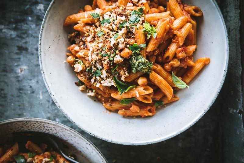 Vegan Chickpea Chilli Pasta With Sourdough Crumbs - Cook Republic #veganpasta #chickpeapasta