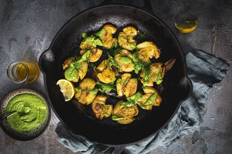 Crispy Bay Roasted Smashed Potatoes With Green Sauce - Cook Republic