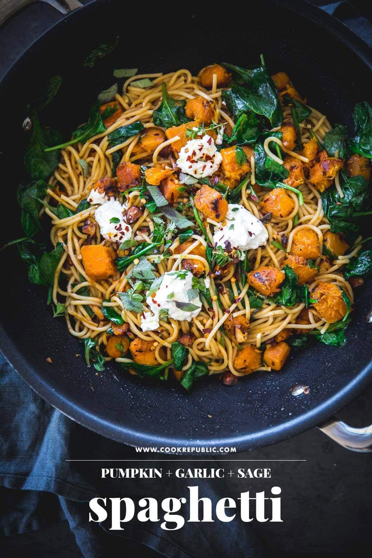 Pumpkin Garlic And Sage Spaghetti - Cook Republic #vegetarianpasta #pumpkinpasta #pumpkindinner #pastadinner
