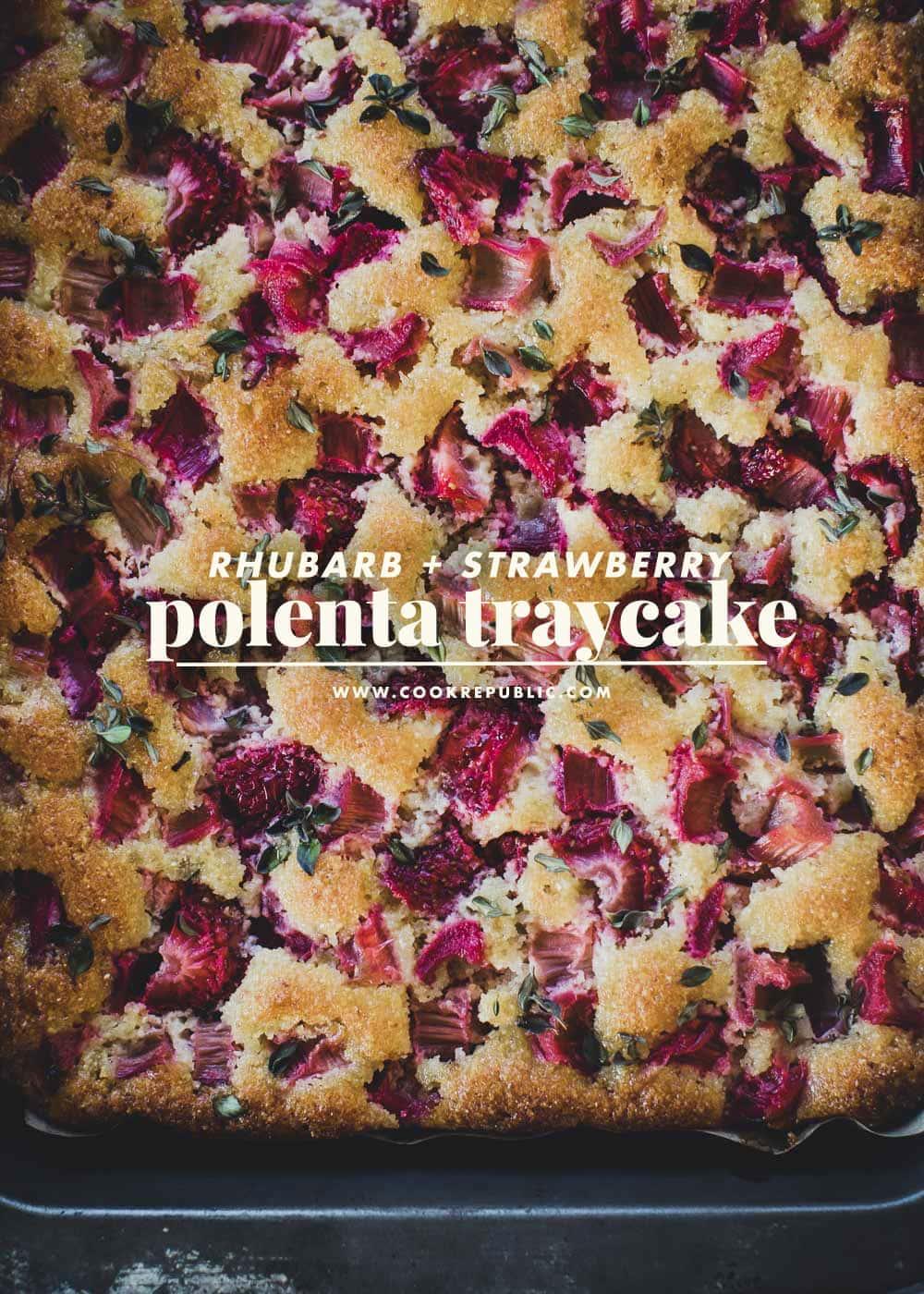 Rhubarb Strawberry Polenta Traycake - Cook Republic #glutenfreecake