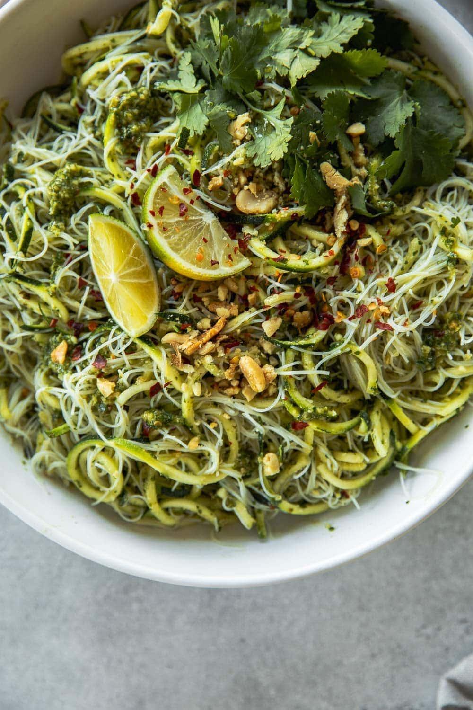 Green Zucchini Rice Noodles With Thai Pesto