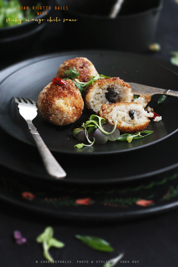 Asian Risotto Balls Stuffed With Braised Mushroom | Cook Republic