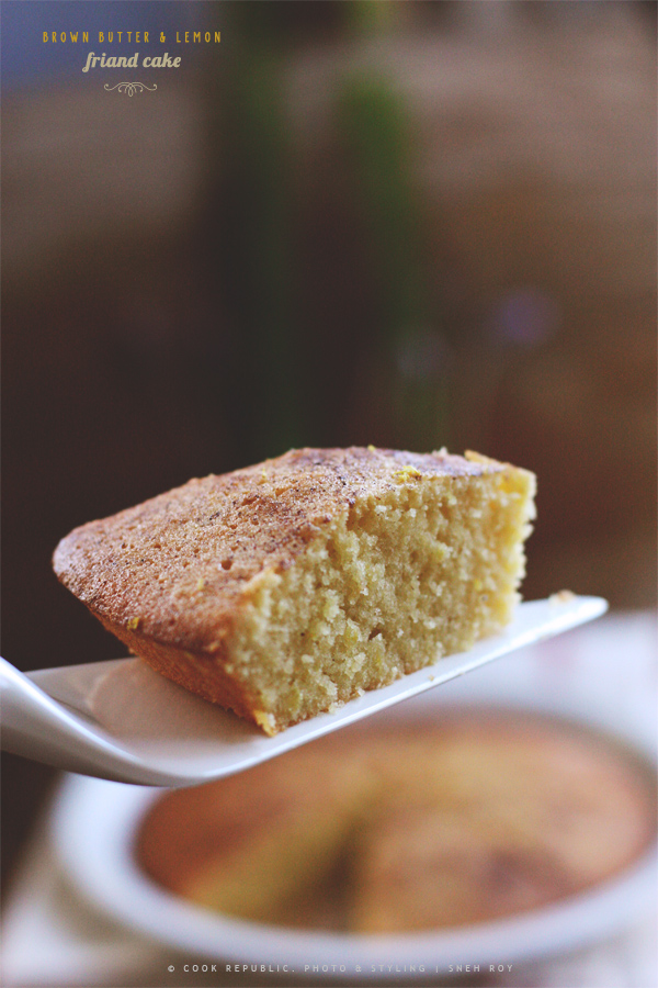 Slice Of Brown Butter & Lemon Nutmeg Friand Cake