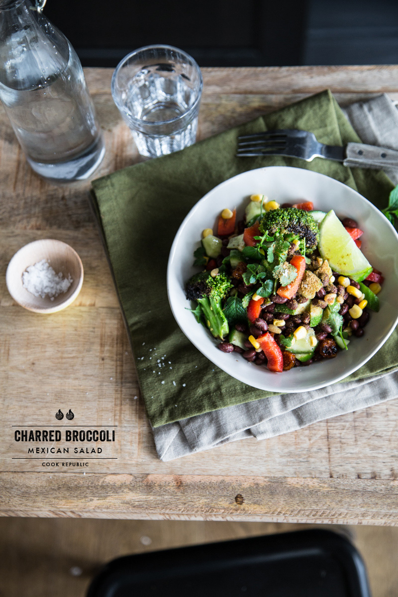 Charred Broccoli Salad With Black Beans And Berries - Cook Republic