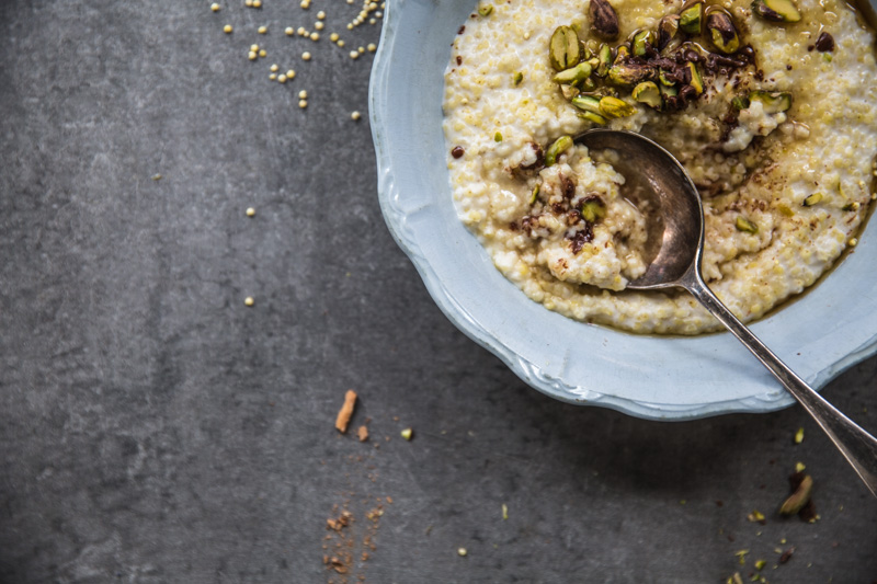 Creamy Coconut Millet Porridge With Chocolate & Nuts - Cook Republic