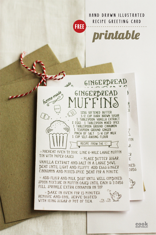 Free Hand Drawn Recipe Greeting Card Printable - Gingerbread Muffins