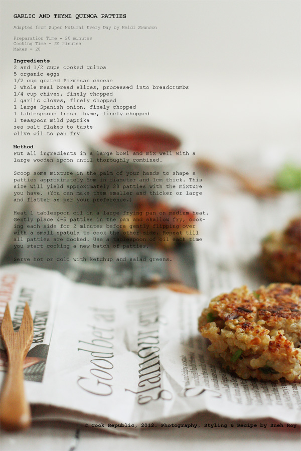 Garlic And Thyme Quinoa Patties Recipe Card
