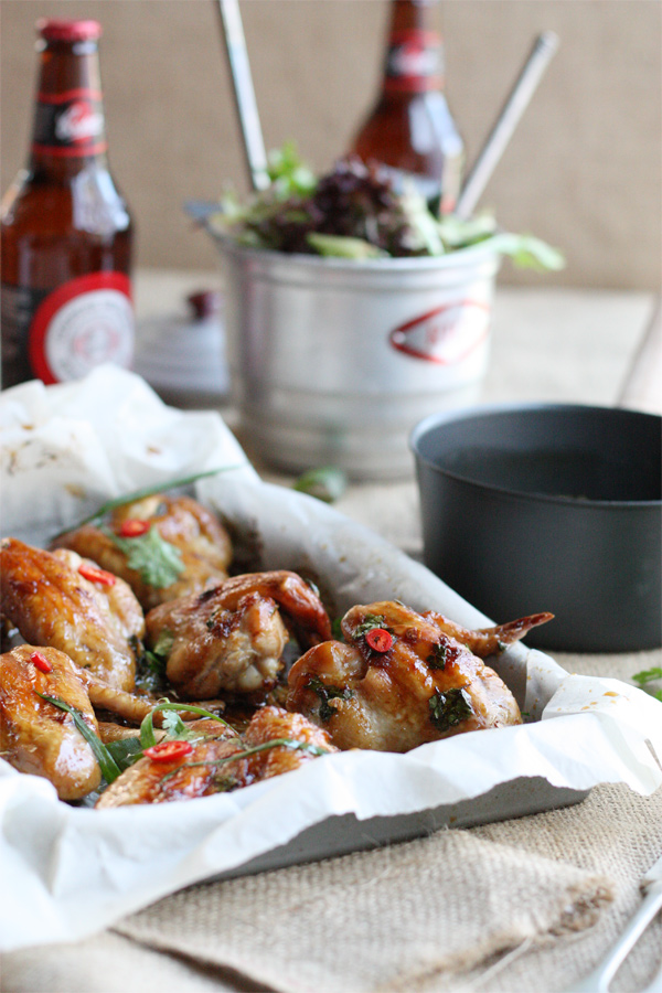 Golden Chicken Wings With Ginger Caramel Chili Sauce