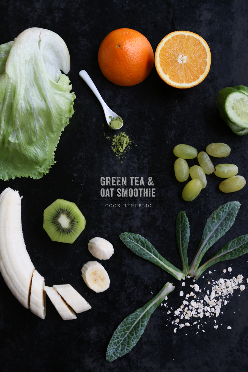 Green Tea And Oat Smoothie With 7 Fruits & Veggies