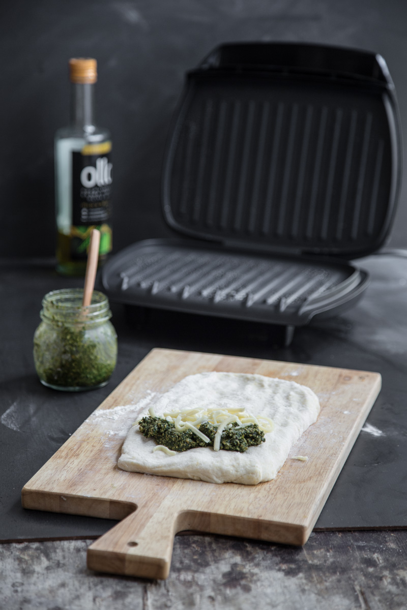 Herb Pesto Stuffed Flatbread