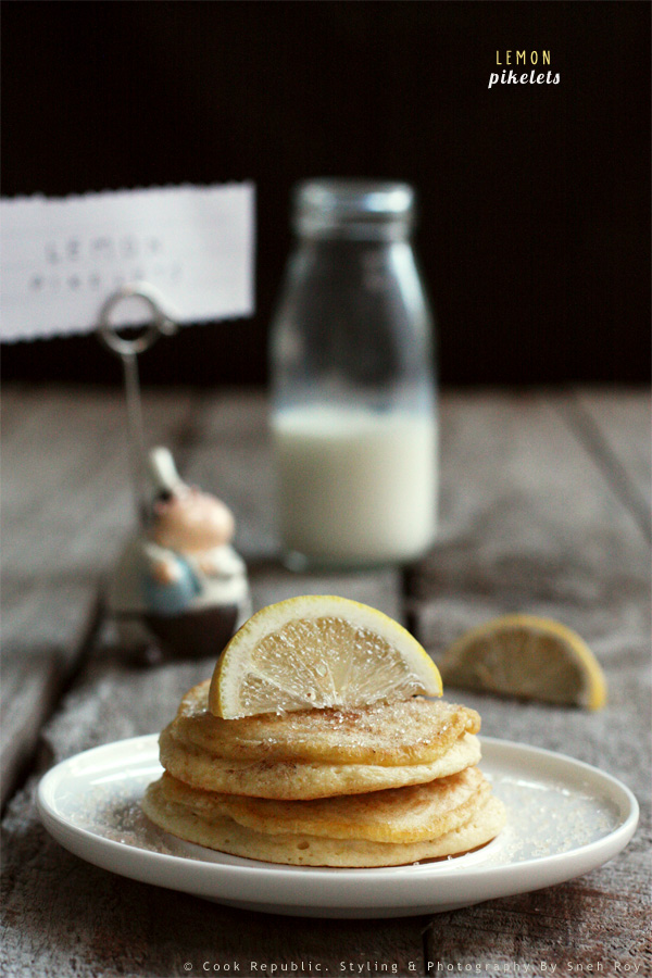 Lemon Pikelets With Lemon And Raw Sugar