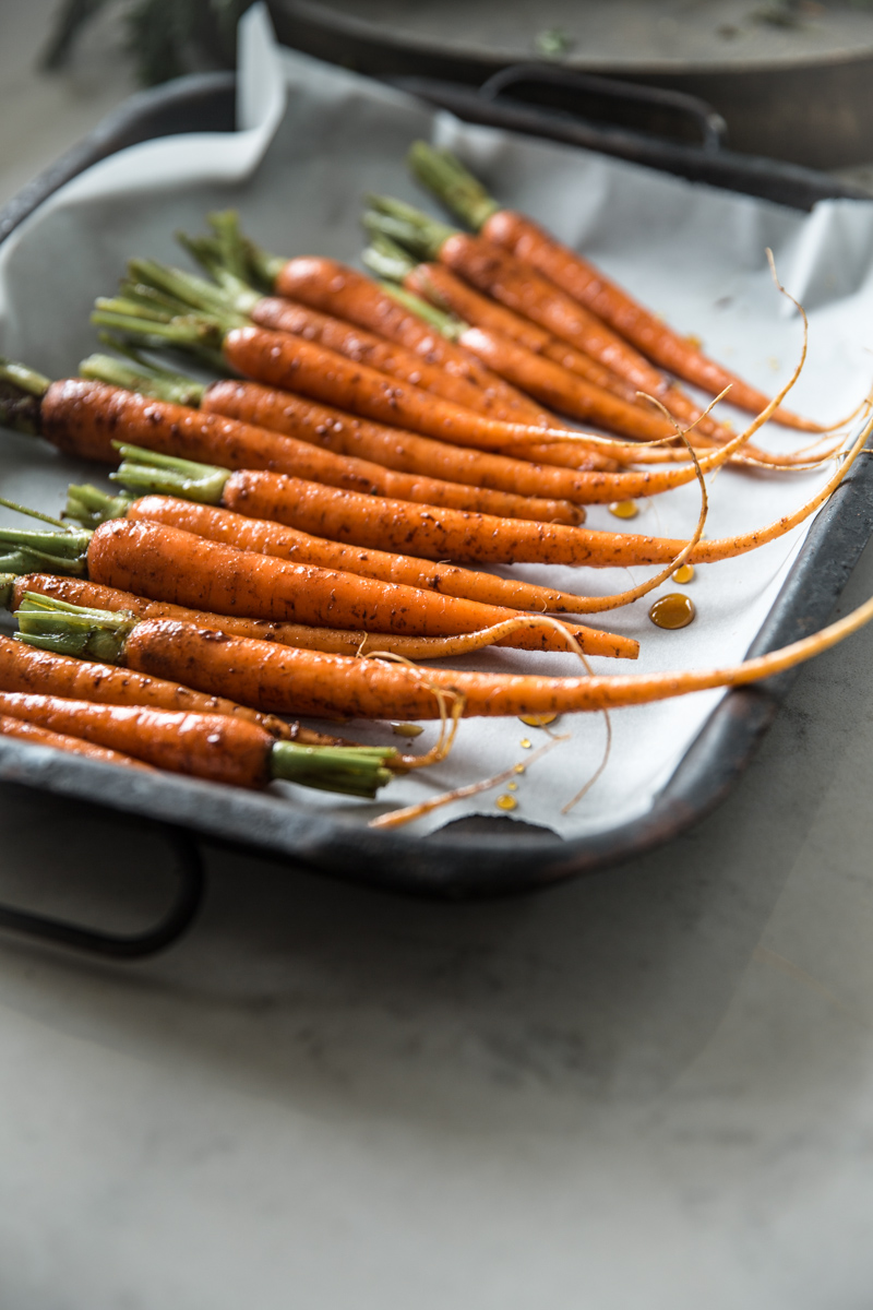 Maple Roasted Dutch Carrots With Garlicky Carrot Top Hummus - Cook Republic