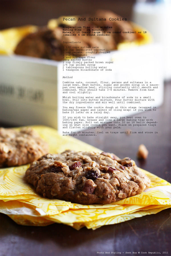 Pecan And Sultana Cookies Recipe Card
