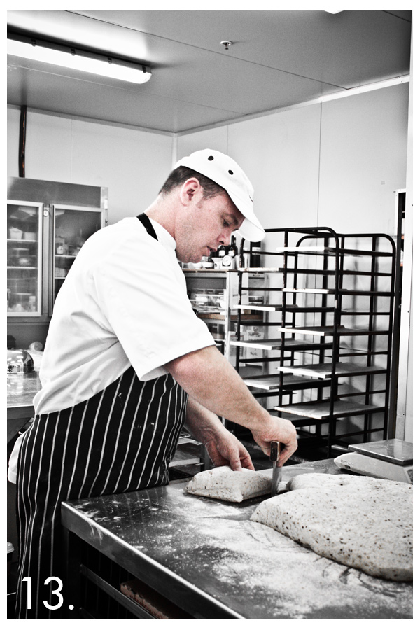 Matt sections the dough.