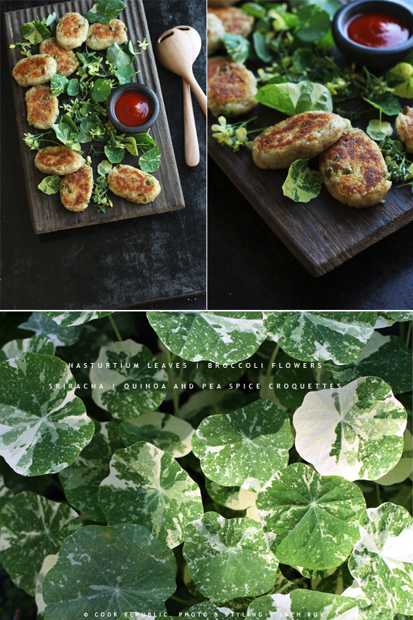 Quinoa Pea Spice Croquettes With Nasturtium Leaves