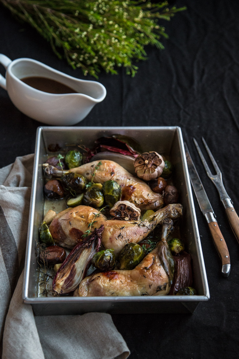 Roast Garlic Chicken With Chestnuts And Sticky Marsala Sauce - Cook Republic